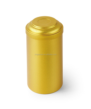 Golden tall tea tin box with lid