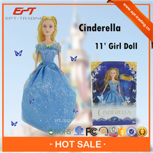 "Lovely 11"" small solid body plastic fashion doll for selling"