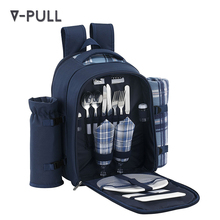 2018 Wholesale picnic bag water-proof fashionable 2 person cutlery wine travel bag and picnic set picnic backpack