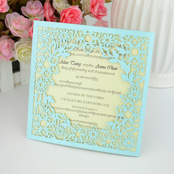 Creative 2016 fashionl design, multicolor cream invitation,laser cut unique invitation for guests