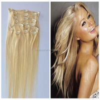 top quality 7pcs full head bohemian remy clip in human hair extension