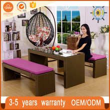 Hot sale waterproof cushion cheap outdoor wicker furniture best rattan 3 seater sofa bench dining set