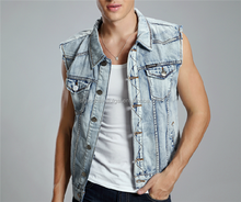 men good cropped denim vest
