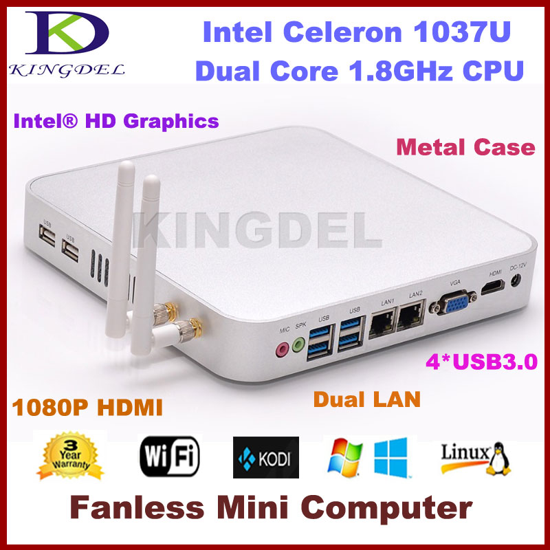 Wholesale Mini Computer Gaming System Windows10 Fanless PC Intel Celeron 1037U Barebone ITX Motherboard HTPC