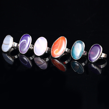 Vintage Big Oval Colored Omber Agate Adjustable Rings For Men And Women