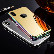 2018 phone accesories mobile phones cover for IPhone metal bumper mirror case for IPhone 8 Plus