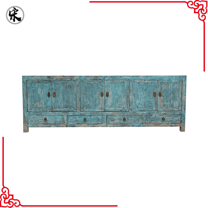 chinese antique reproduction distressed oriental buffet TV console furniture