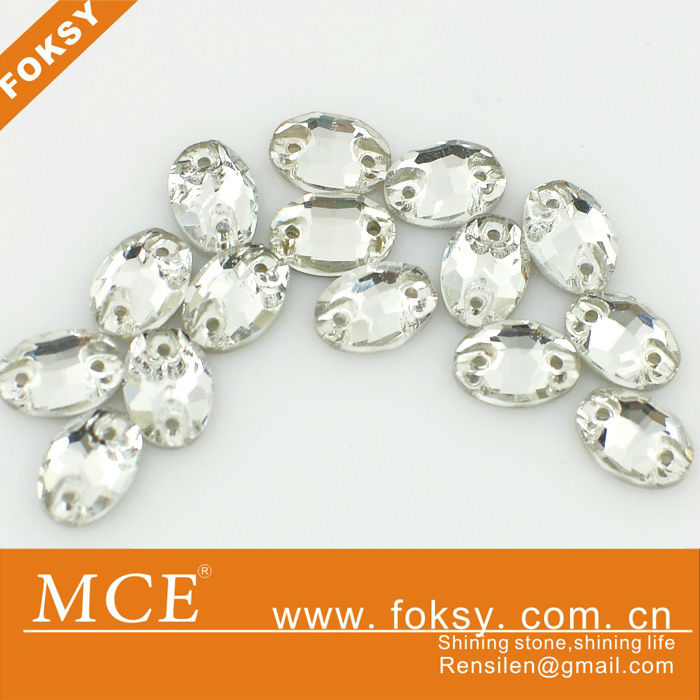 silver foiled flat back sew on acrylic rhinestone for evening dresses - FOKSY