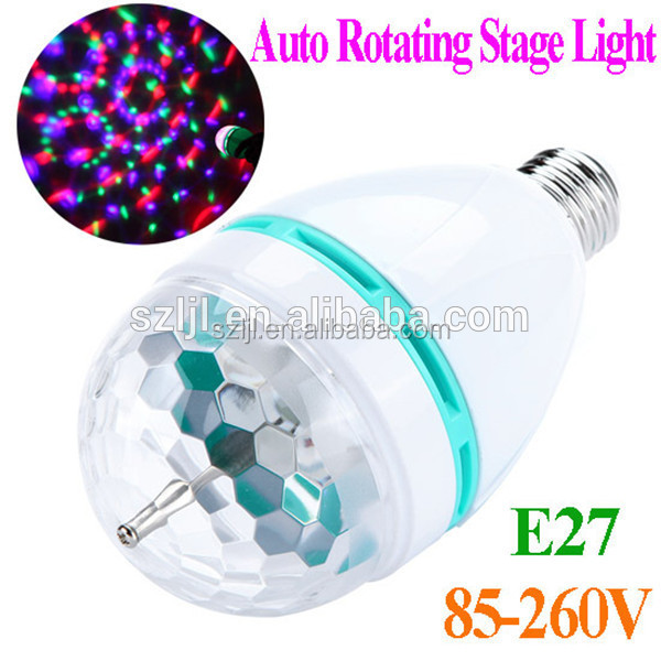 Colorful rotating stage bulb/light full color 3w E27 B22