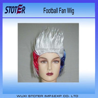 New Arrival hot sale short none lace wig 120g Belgium100% polyester football fan wig