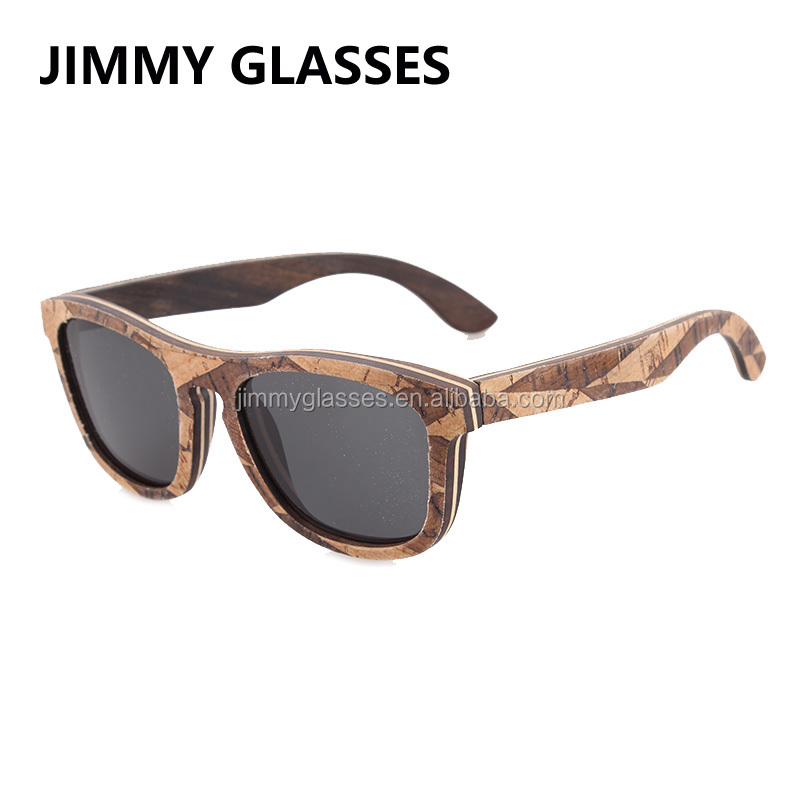 UV400 Polarized Sunglasses Italy Design Eco Friendly Cork Wooden Sunglasses Custom Logo JM676