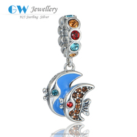 New Arrival Silver Beads Colorful Stones Inlaying Fish Charms Fit European Beads