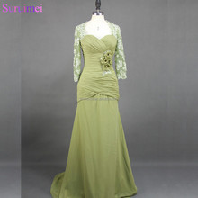 elegant mermaid floor length long lace chiffon mother of the bride dresses MQ028