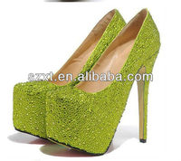 2014 new style ladies green platforms high heel pumps shoes women mature sexy pary wear platforms crystal high heel shoes