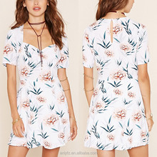 hot style short sleeve summer mini dress floral print white dress soft casual dress for young women