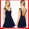 HC 4010 Wholesaler Backless Summer Style Short Black Eyelash Lace Chiffon Eyelash Cheap Cocktail Dress