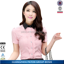 New Lady Office Shirt 2015 Work Wear Women's Tops Butterfly Short Sleeve Turn-Down Collar Rose Red White Women Blouse