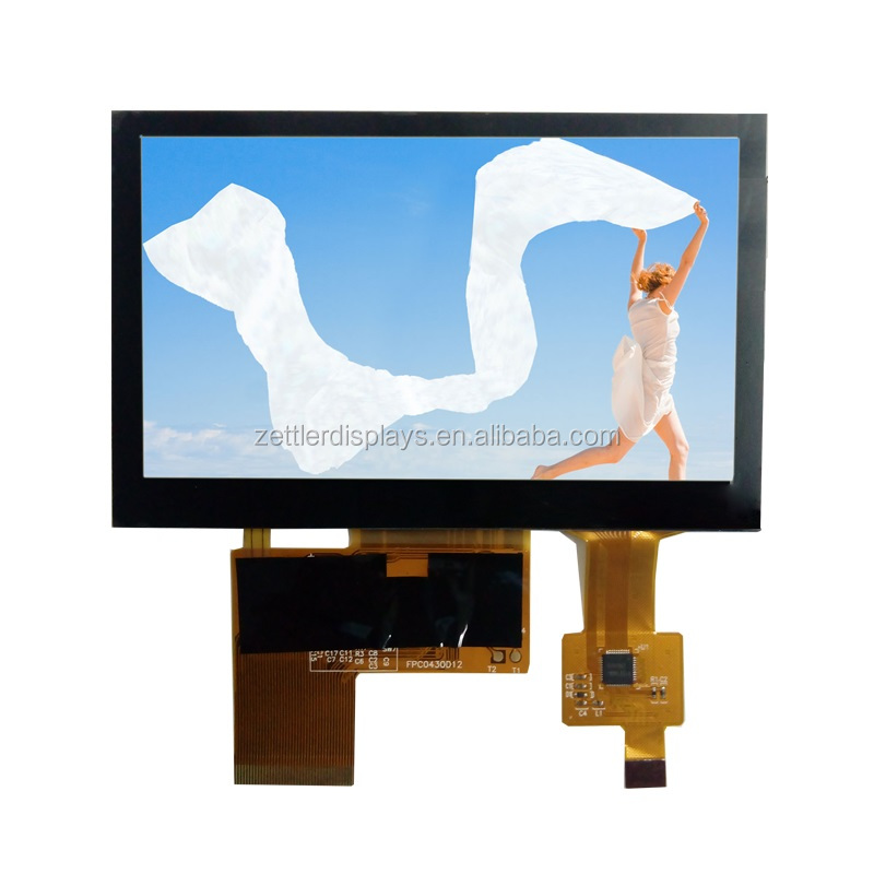 4.3'' tft lcd screen with capactive touch screen with OA size 105.5x67.2x4.45 mm