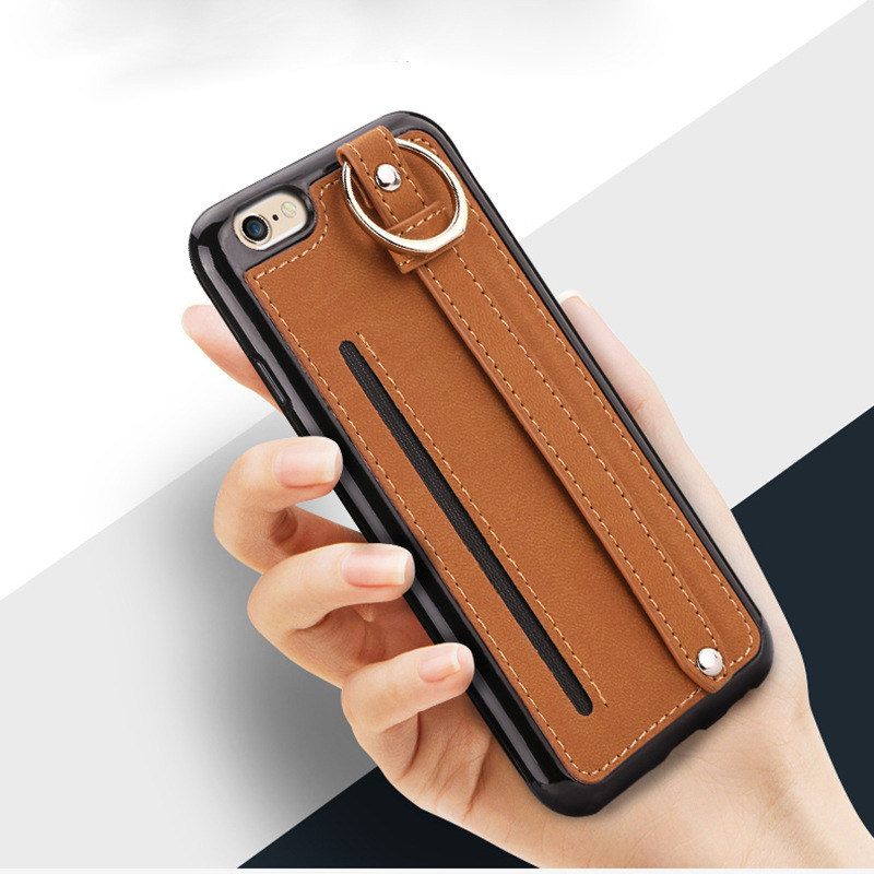 tpu & pu material cell phone wallet case for iphone 7 case with holder