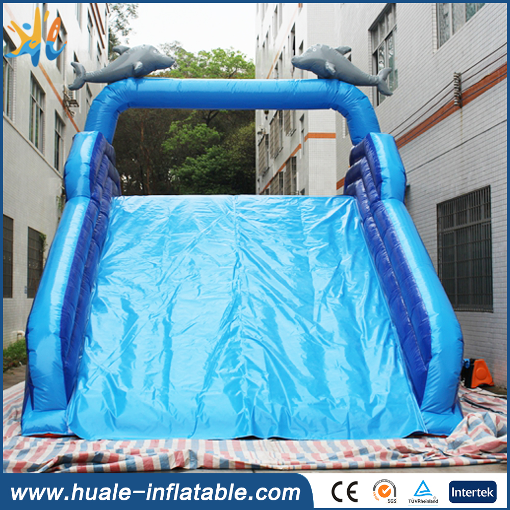 High Quality NEVERLAND TOYS Bule Dolphins Cartoon Giant Inflatable Water Slide Commercial Used Swimming Pool Slide For Sale