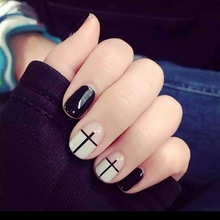 24Pcs Fashion Preppy Chic False Nails Short Full Cover Artificial Fingernails Beauty Gothic Cross Nail Art With Glue CA3927