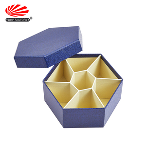 Food Grade New Custom Logo Luxury Paper Divider Rigid Empty Cardboard Packaging Candy Gift Hexagon Chocolate Box