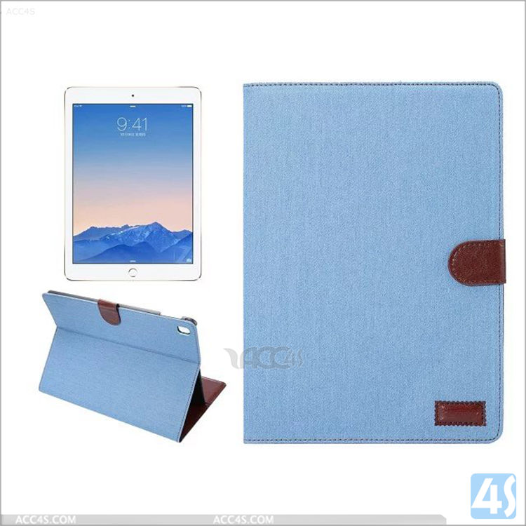 2016 Wholesale Tablet Jean Wallet Flip Cover Case for iPad Pro 9.7 Air 3 with card slot