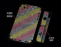 Bling bling sticker wrap for iPhone 5c, for iPhone 5 5s 5c 6 6s plus sparkling skin cover case rainbow color sticker