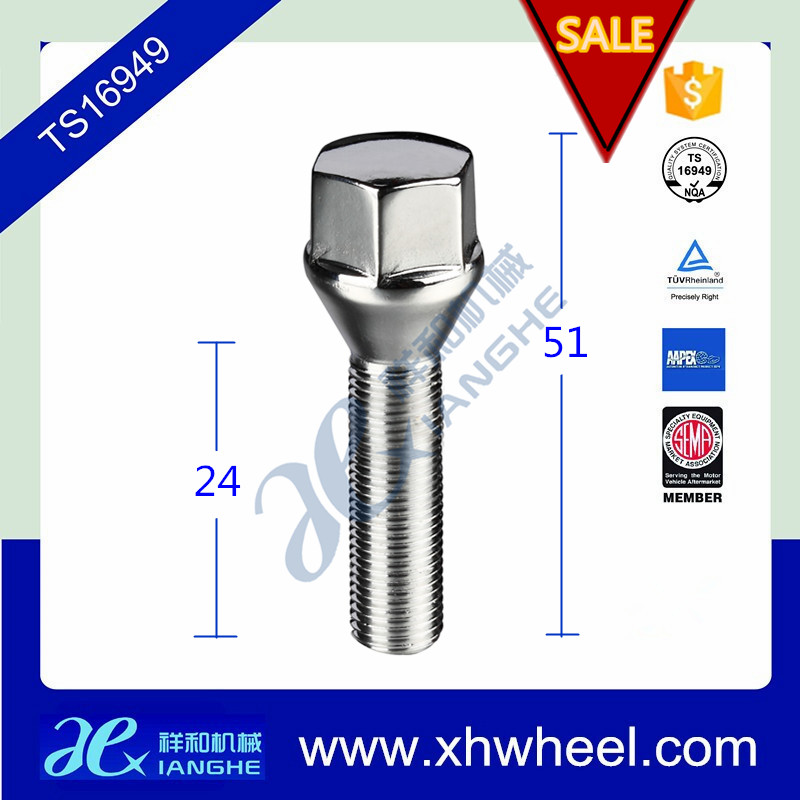 19mm Hex Cone Seat Wheel Lug Nut Lock Bolt for Audi for BMW