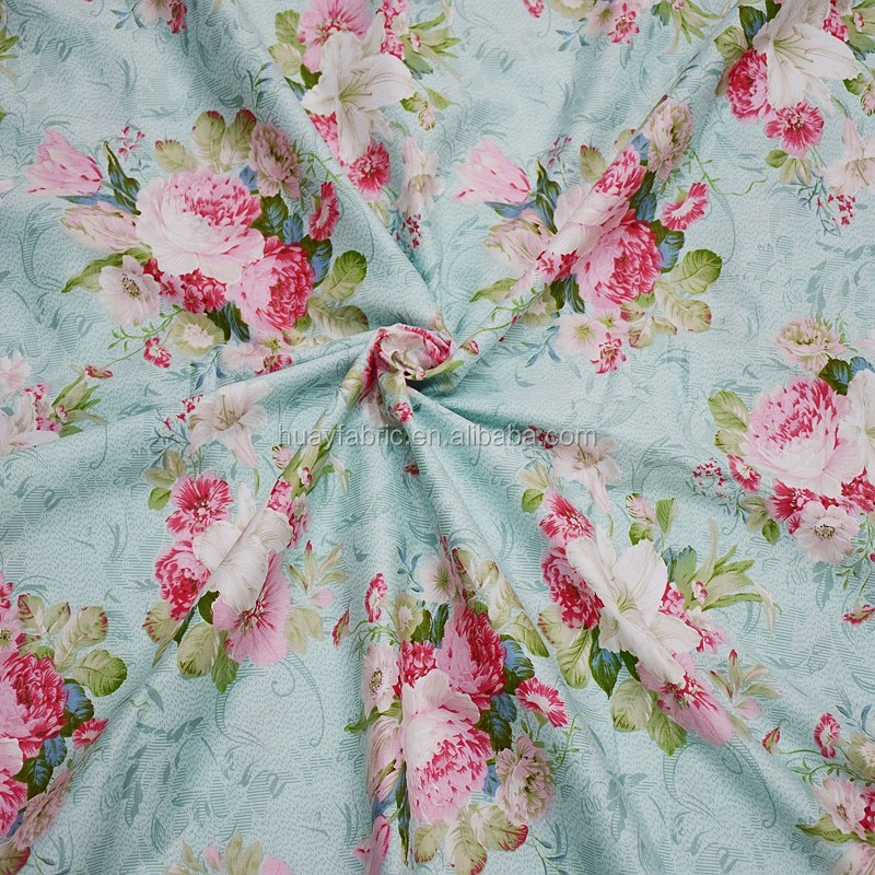2016 New Big Rose Printed Cotton Fabric Green textile fabric HYC0015