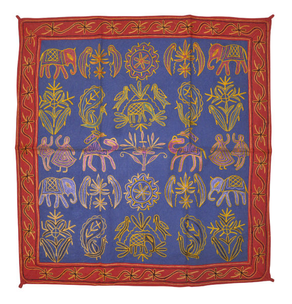 Handmade Blue Cotton Wall Hanging Embroidered Bohemian Cheap Price Retailer Indian Tapestry