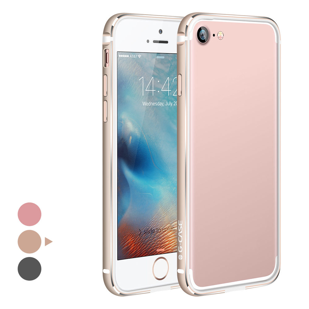 G-Case Grand Series Aluminium + TPE Bumper shockproof protector back cover case for iPhone 7 -3 colors