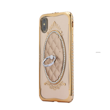 Shengo Luxury Diamond Ring Holder Phone Case Soft TPU Wholesale Cell Phone Cases Manufacturer for iPhone X