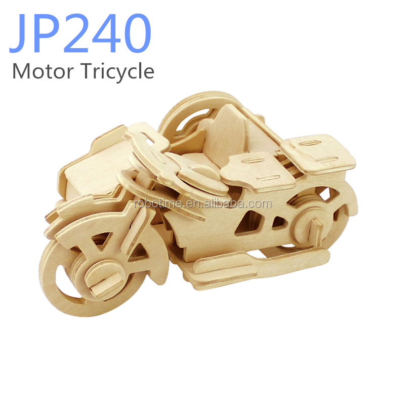 Customized 3D wooden Puzzles DIY Motorcycle toys