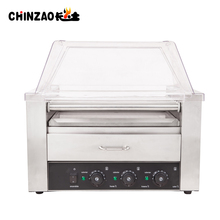 Multifunctional Commercial 9 Roller Electric Hot Dog Machine With Bun Warmer and Acrylic Cover