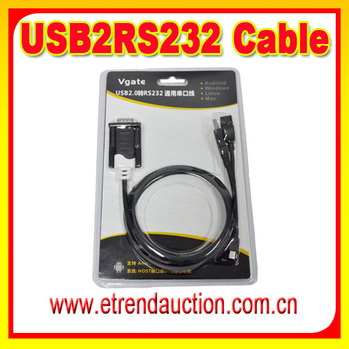 OBD Cable USB Interface Connect To RS232 Cable male to female adapter