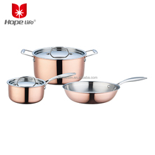 5pcs Tri-ply cookware sets kichen stainless steel copper cookware pot