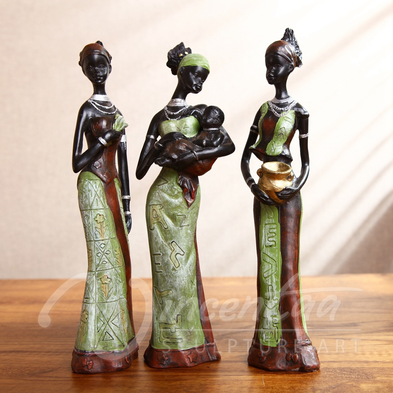 Home decoration art crafts beautiful african woman sculpture resin statue