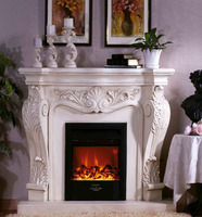 French Style Luxury White Antique Electric Fireplace with Realistic Flame for Indoor Decorative