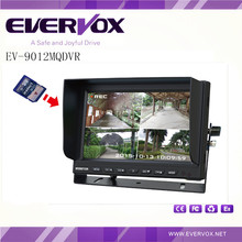 9 inch high definition 4 channel DVR monitor with 800*RGB*480 resolution