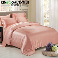 Wholesale 3pcs large size 100% silk bedding sets luxury in pink color