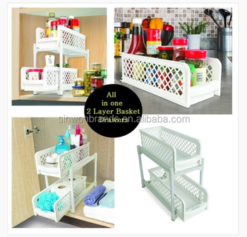 Portable 2-tier basket drawer