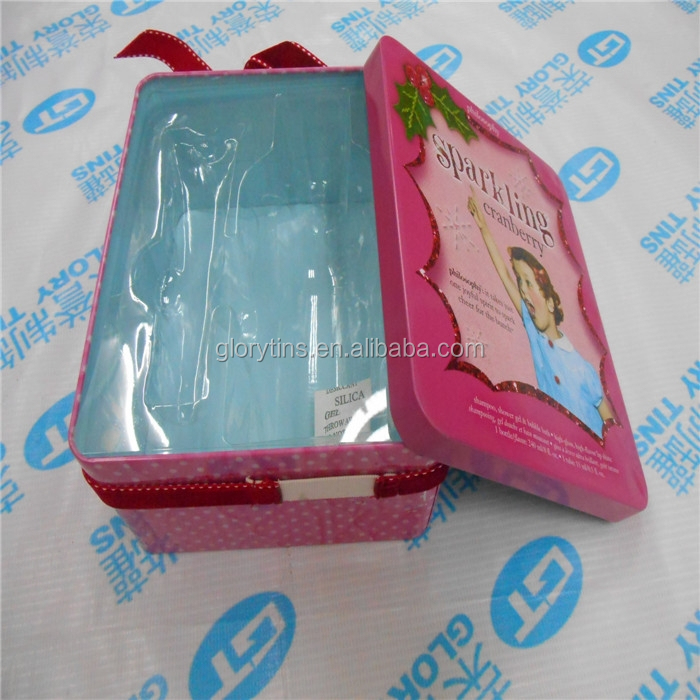 elegant rectangular tin box with PET insert for cosmetic packing
