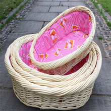 Pet Dog Bed Nest Handmade Round Comfort Natural Wicker Rattan Dog Bed