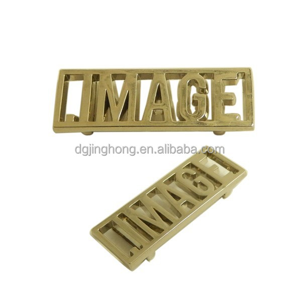 rectangle letter embossed custom metal logo label for hansbgas/wallet