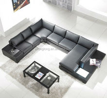 NEW BLACK BONDED LEATHER SECTIONAL SOFA W/ BUILT-IN LIGHTS U SHAPE