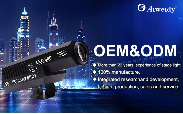 Guangzhou Aiweidy stage equipment DMX512 300w stage light automatic mini follow spot led moving spot light