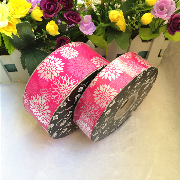 Custom printed flower pattern pull string ribbon for gift wrapping