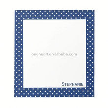 Hot Sale Personalized Royal Blue Polka Dot Pattern Notepad sticky note in leather case