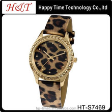 Leopard Print Diamonds Lady Customized Women Watches For Fashion